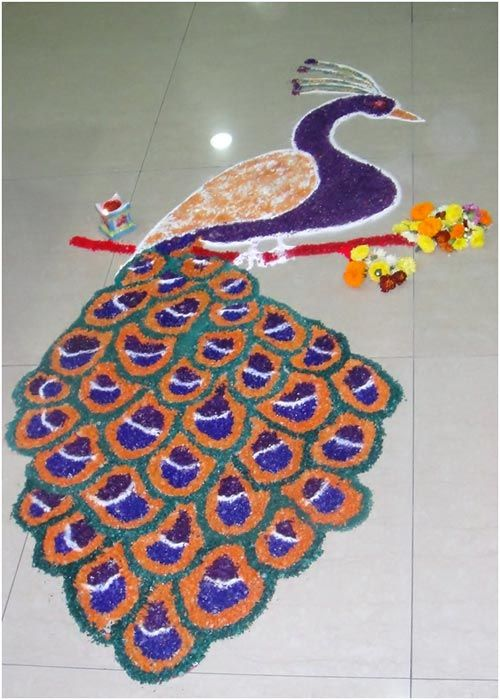 Best Peacock Rangoli Designs !!
