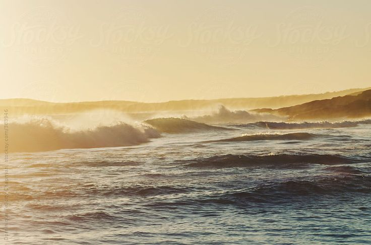 Sunset light hitting waves by DominiqueFelicityPhotography | Stocksy United