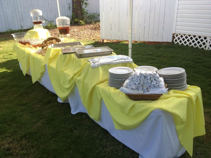 Outside. Yellow. Buffet table decoration.