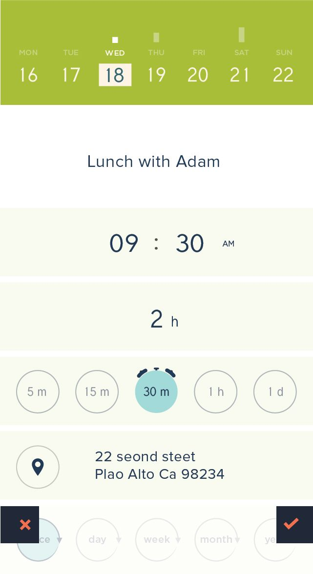 Peek Calendar - iPhone App UI Design Inspiration
