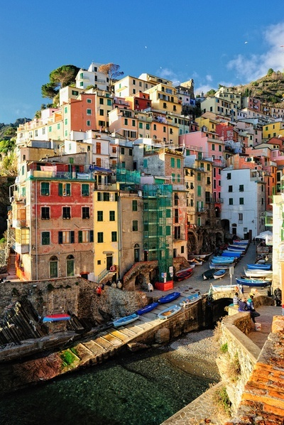 Colorful town of Riomaggiore, Italy #places #travel #Europe