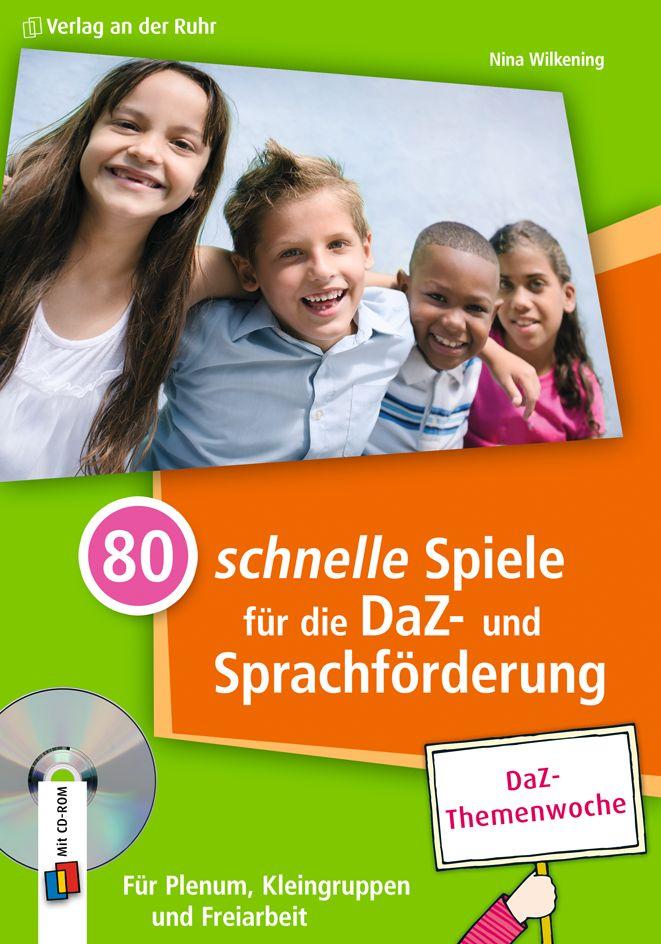 """++DaZ-Themenwoche++ Die unaufwändigen Angebote aus """"80 schnelle Spiele für die DaZ- und Sprachförderung"""" sind für Kinder mit Migrationshintergrund, DaZ-Lerner und die allgemeine Sprachförderung in der Grundschule gleichermaßen gut geeignet. Und das Beste: Sie können sofort mit dem jeweiligen fertigen Spiele-Vorschlag starten – oder Sie passen das Angebot mithilfe der beiliegenden CD-ROM individuell an.   #DaZ #Schule #Sprache"""
