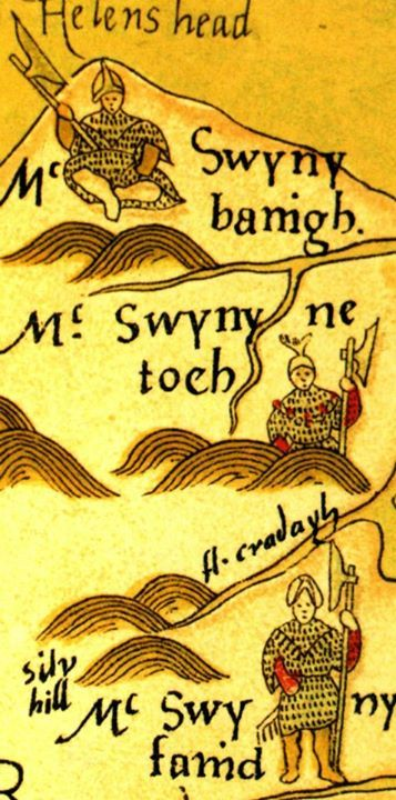 1567 -drawing of a group of MacSweeney galloglass on John Goghe's Map of Ireland.