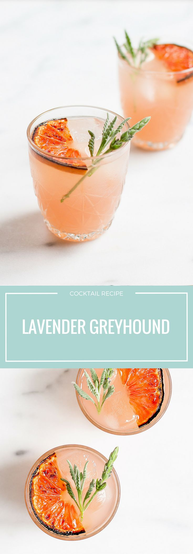 Easter Brunch Cocktail: A two ingredient recipe for the prettiest, easiest spring cocktail ever. Lavender infused vodka and brûléed grapefruit come together in a drink that guests won't forget.