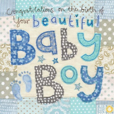 Congratulations on the birth of your beautiful Baby Boy Card - Large, luxury new baby card