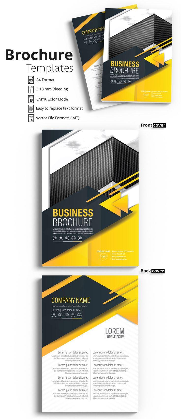 Brochure Cover Layout with Yellow and Gray Accents 1 - image | Adobe Stock #Brochure #Business #Proposal #Booklet #Flyer #Template #Design #Layout #Cover #Book #Booklet #A4 #Annual #Report| Brochure template | Brochure design template | Flyers | Template | Brochures | Flyer Background | Background design | Business Proposal | Proposal Design | Booklet | Professional | Professional - Proposal - Brochure - Template