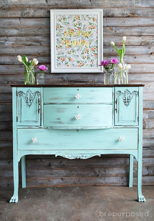 Chalky Finish Mint and Floral Buffet - brepurposed