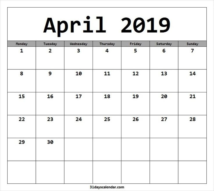 available april 2019 calendar starting monday