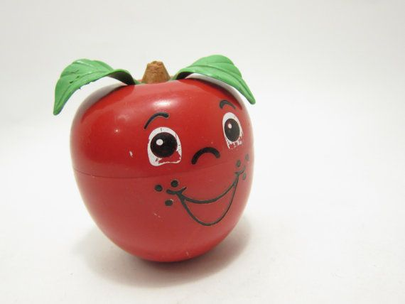 Fisher Price Happy Apple vintage Babys toy 70s toy Bells Chime via Etsy