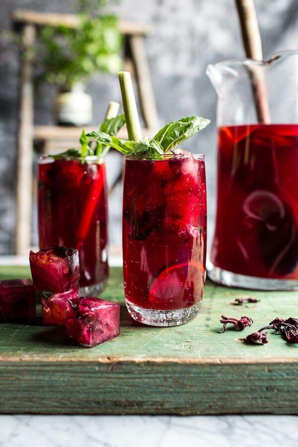 Hibiscus, Lemongrass, Basil and Honey Sweet Iced Tea #iced #tea #lemongrass #hibiscus