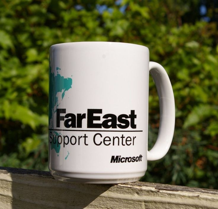 Microsoft Coffee Mug Far East FarEast Regional Support Center Map Computer Green  | eBay