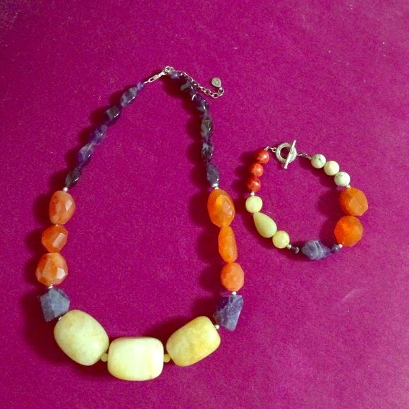 Necklace and Bracelet Gorgeous Barse matching necklace and bracelet. Purple, orange and a yellowish stone color. Barse Jewelry Bracelets