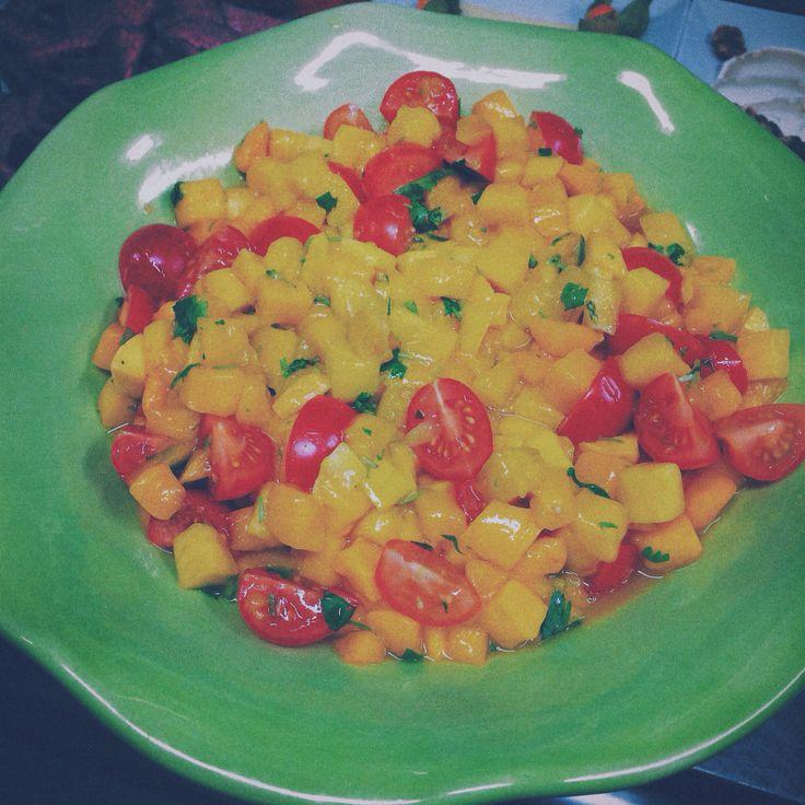 Mango tomato salsa with oliveoil cilantro