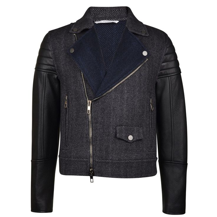 valentino | herringbone leather sleeved jacket |