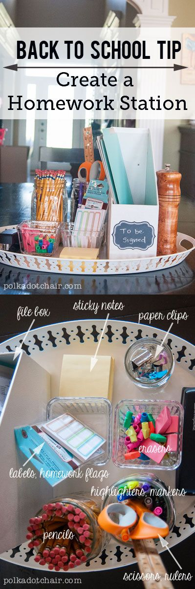 "Make homework time easier by creating this moveable ""Homework Station"" on your kitchen table. Includes all the things kids might need when they are doing their homework."
