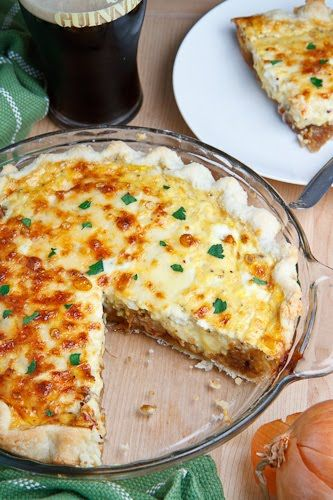 Guinness Braised Onion and Aged White Cheddar Quiche -- not sure how I feel about quiche, really, but I'd try it...