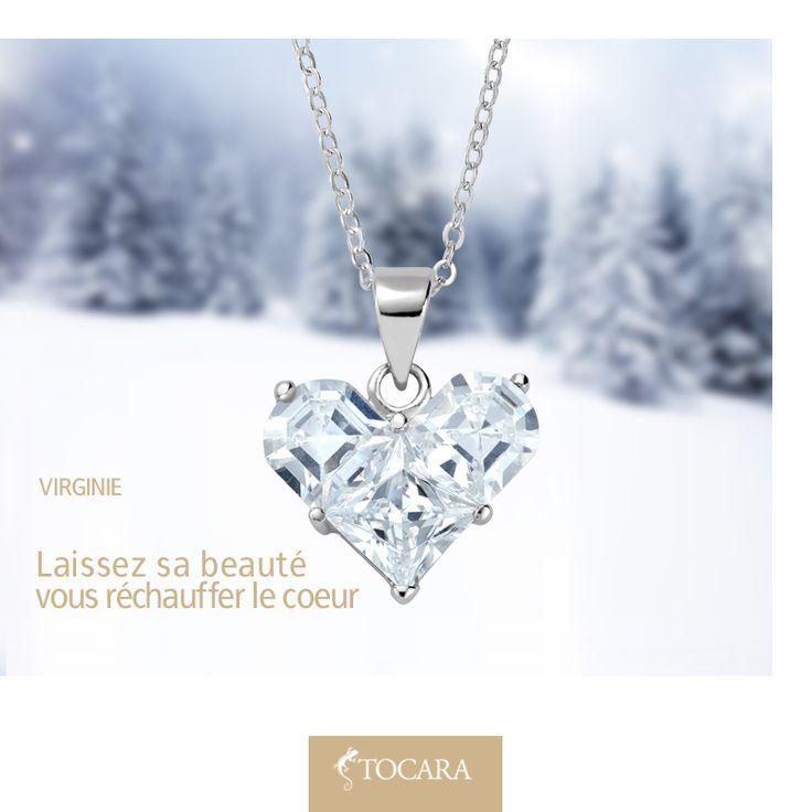 """Les pendentifs multi-pierres sont un incontournable au sein des coffrets à bijoux les plus chic! Ces DiAmi, une coupe princesse et deux coupes épaules, sont blottis ensemble pour former le symbole intemporel de l'amour. """"Pin it"""" si ce pendentif vous réchauffe le coeur !"""