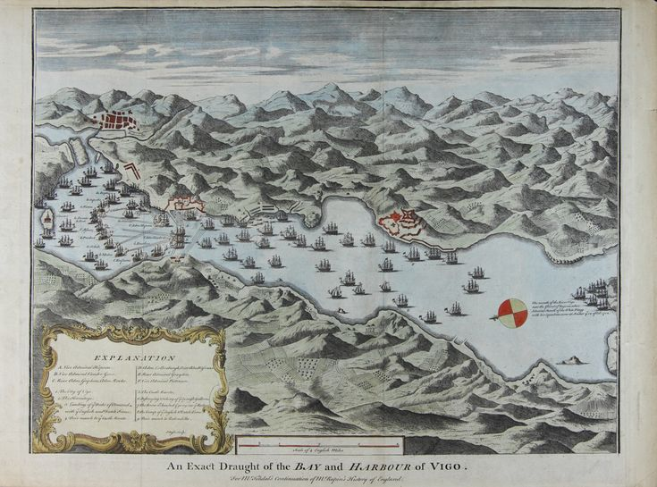 BATALLA NAVAL DE RANDE (Vigo) pola edición inglesa de Mr. Tindal (s. XVIII). Mapa coloreado a man.