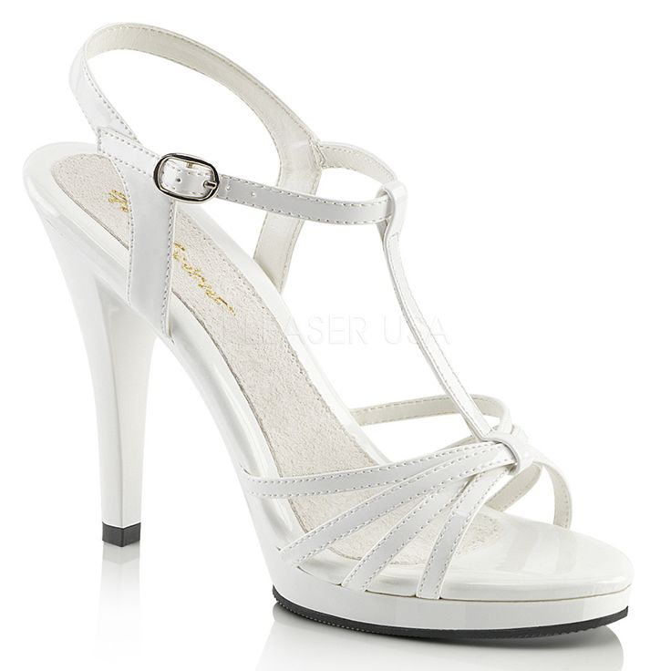 Fabulicious FLAIR-420 White T-Strap Sandal