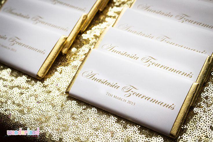 Gold foil wrapped chocolates -www.wonderlandparties.com.au