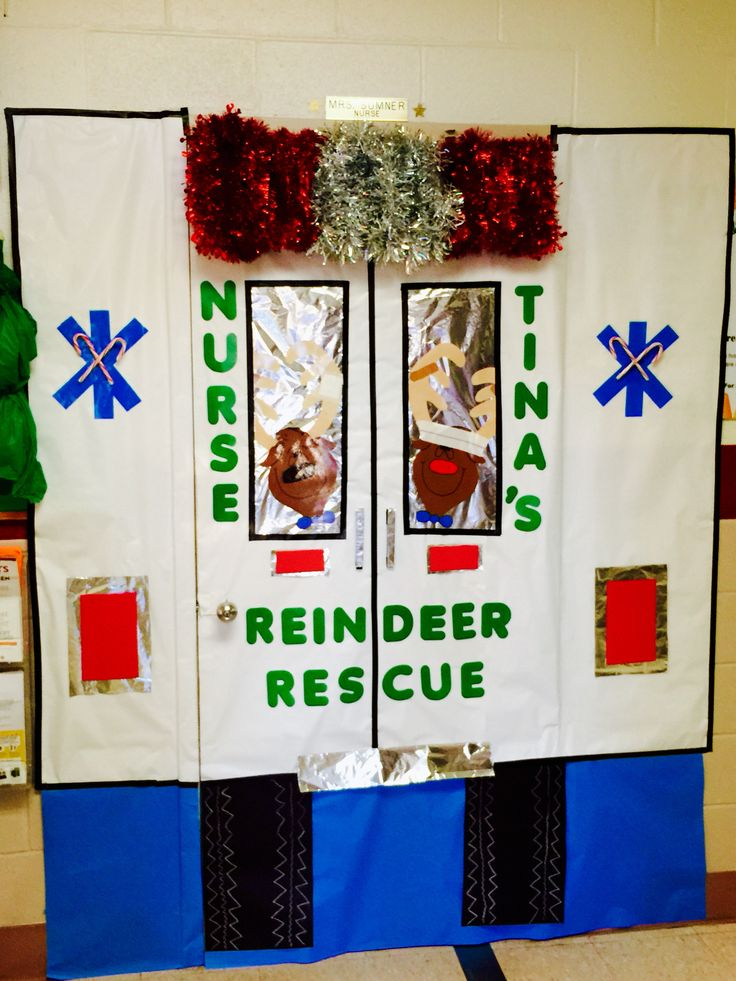 Christmas door decorating contest at our school! The kids