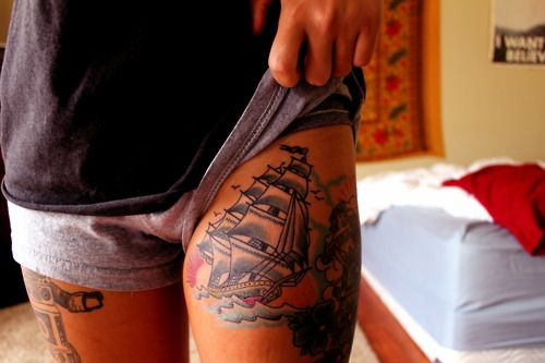 Nice thigh tattoos: Pirates Ships, Ships Tattoo, Thighs Pieces, Tall Ships, Thighs Tattoo, Legs Tattoo, A Tattoo, Tattoo Woman, Tattoo Ink
