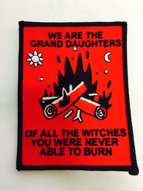 We are the Grand Daughters Of All the Witches You were Never Able to Burn  3x4 B&W thread on red  Inspired by feminist around the globe, my grandmother and all women in the struggle for alternatives and freedom from all persecution past and present.