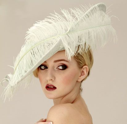 Judy Bentinck Coco Roco Large Cream Hat With Upturned Brim and Ostrich Feather.