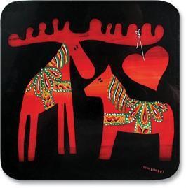 Dala Moose and Horse Trivet.