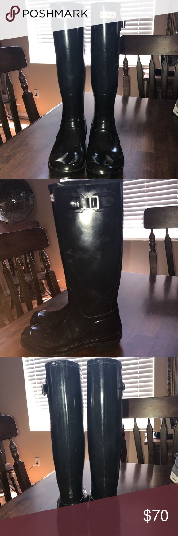 WOMENS HUNTER BOOTS SIZE 10 Original tall glossy hunter boots! SZ uk8 us10 eu42! Great condition, only thing is a missing buckle on the right boot! Originally 150!!! Hunter Boots Shoes Winter & Rain Boots