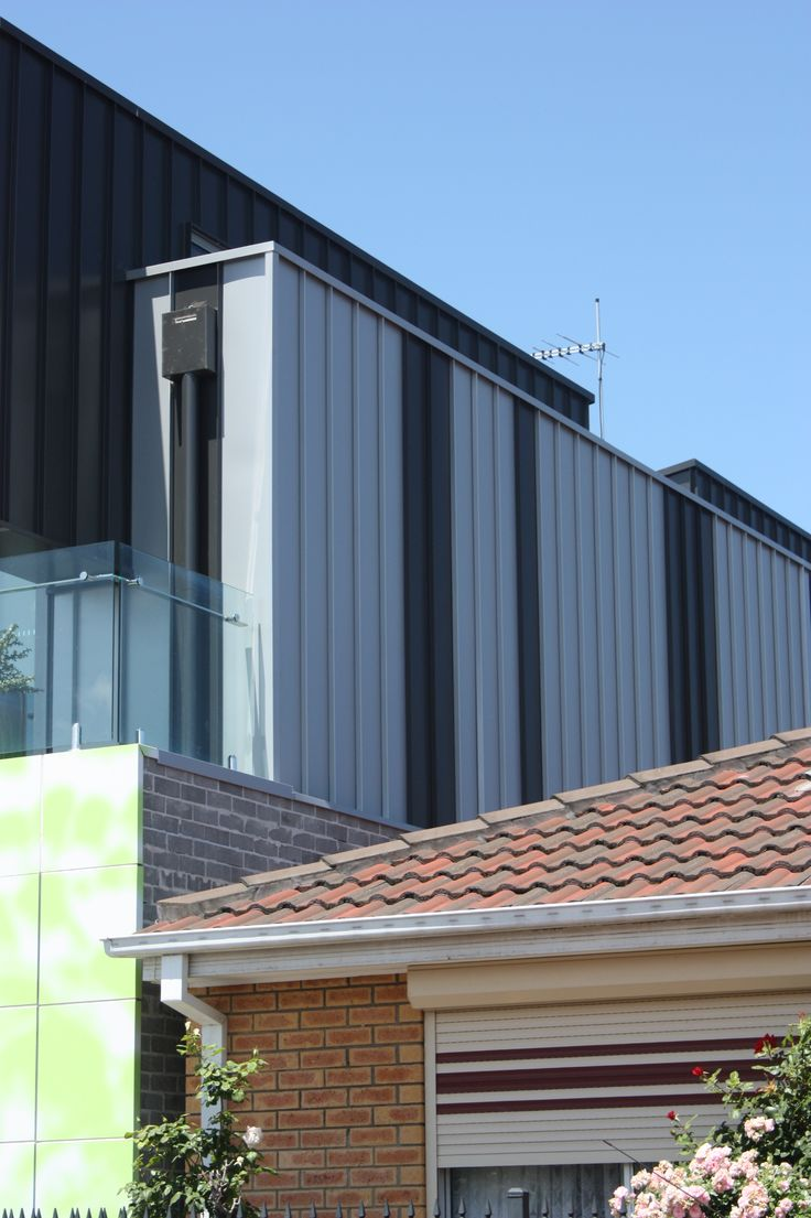 Exterior Cladding Systems: Colorbond Nailstrip Profile In Monument And Citi Metallic