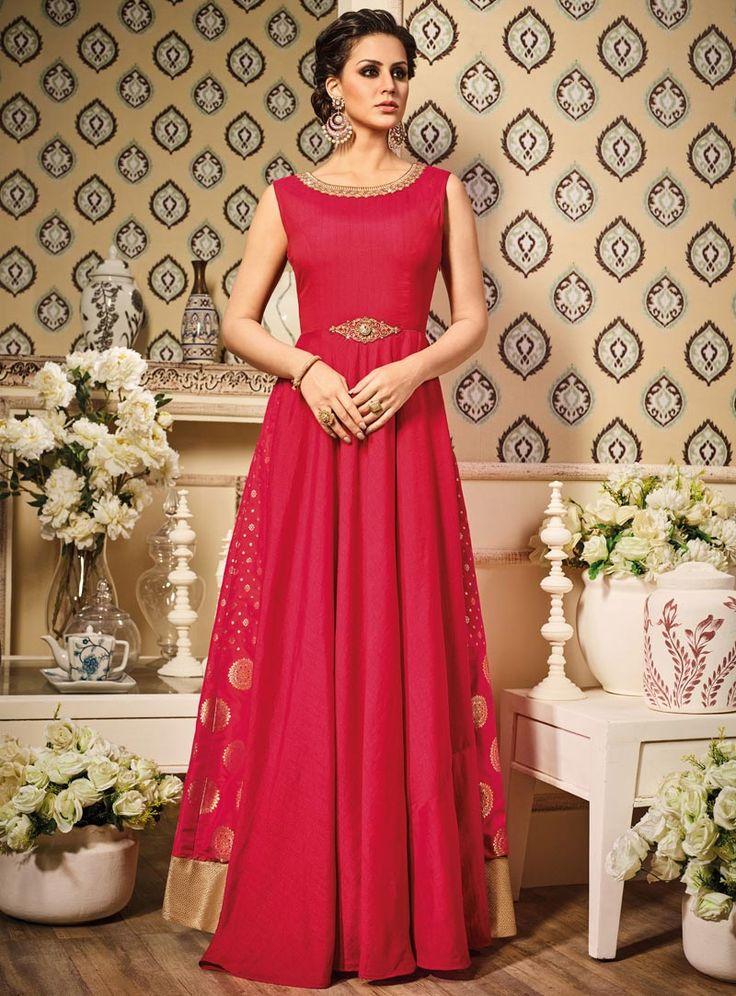 Magenta Silk Floor Length Anarkali Suit 89062