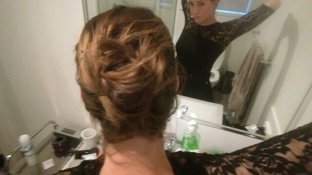 My hairstyle, brunette, short, wavy, updo