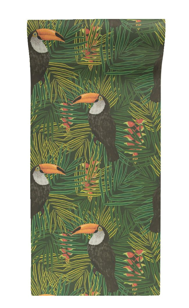 Toucan Wallpaper in Green from Graduate Collection