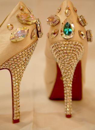 Gold crystal embellished prom high heel shoes 2014