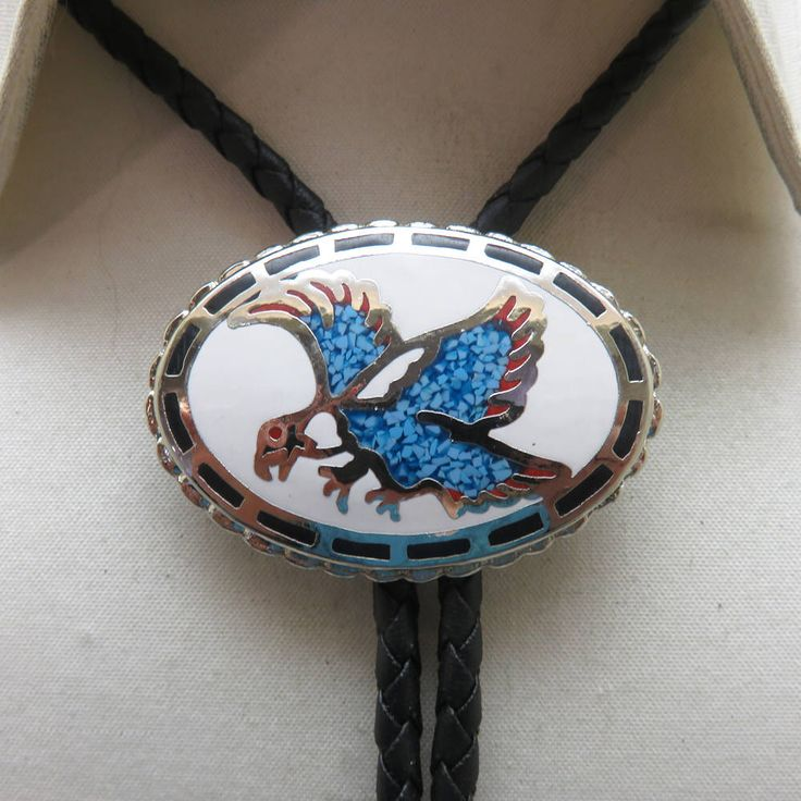 Turquoise Chip Screaming Eagle Bolo Tie , Enameled Eagle Bolo Tie, MINT by PandPF on Etsy https://www.etsy.com/listing/581756224/turquoise-chip-screaming-eagle-bolo-tie
