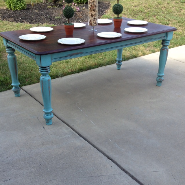 Turquoise base farm table for sale....$700