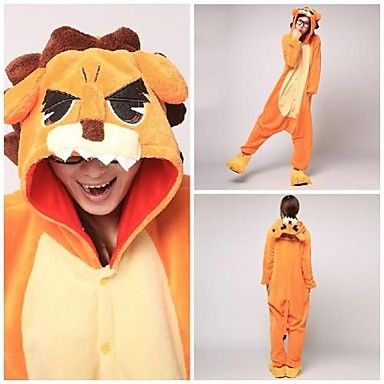 Cute Orange Lion Adult Coral Fleece Kigurumi Pajamas Animal Sleepwear