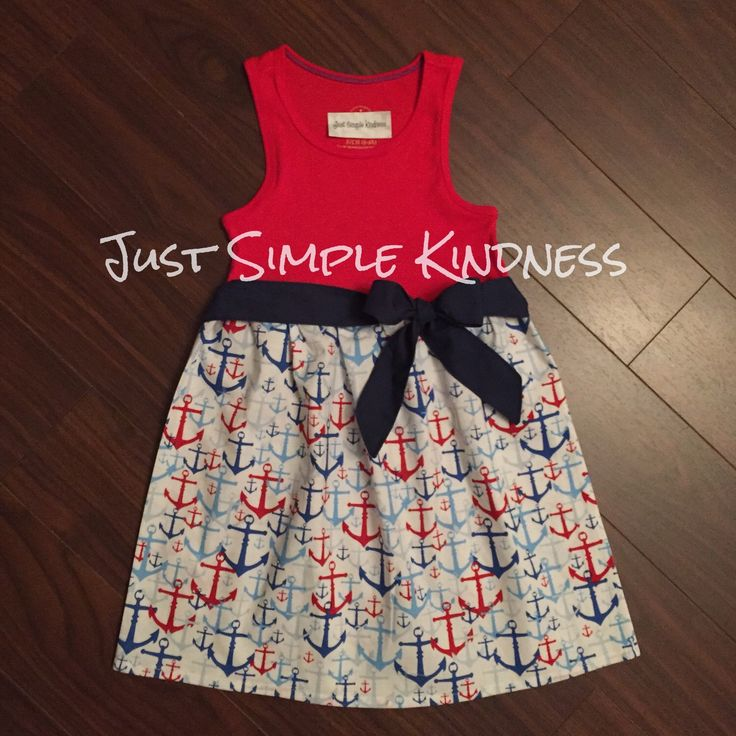 Girls Anchor Dress with belted sash by JustSimpleKindness on Etsy https://www.etsy.com/listing/237698505/girls-anchor-dress-with-belted-sash