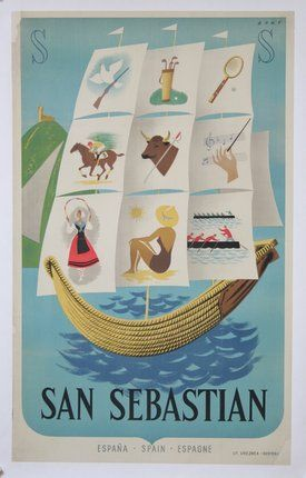 Vintage Travel Poster - San Sebastian - Spain - by Bort - 1950s.