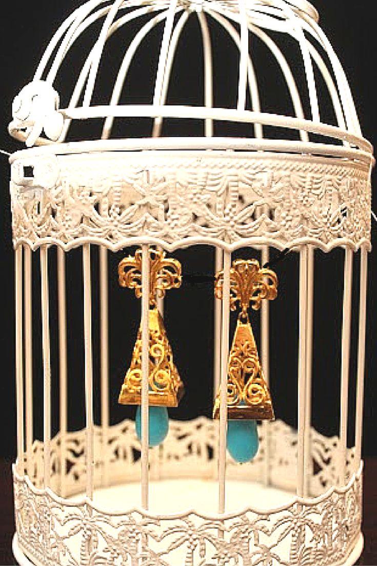 """""""Something Old, Something New, Something Borrowed, Something Blue,"""" #esfir #statementjewelery #eastern #feroza #handcrafted #artisan #earringsoftheday #birdcages"""