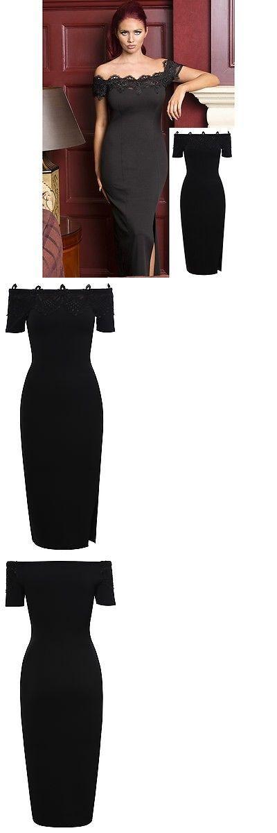 Celebrity Dresses: Amy Childs Celebrity Inspired Black Off Shoulder Floral Lace Crepe Style Dress -> BUY IT NOW ONLY: $25.0 on eBay!