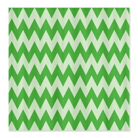 Green Zig Zag Waves Shower Curtain #circusvalley