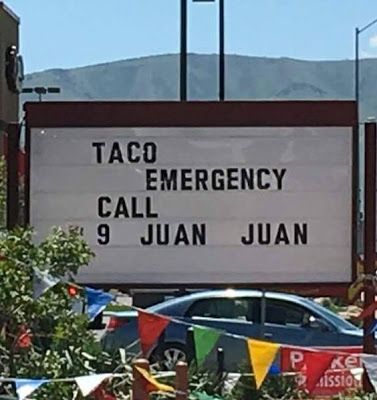 funny taco emergency sign