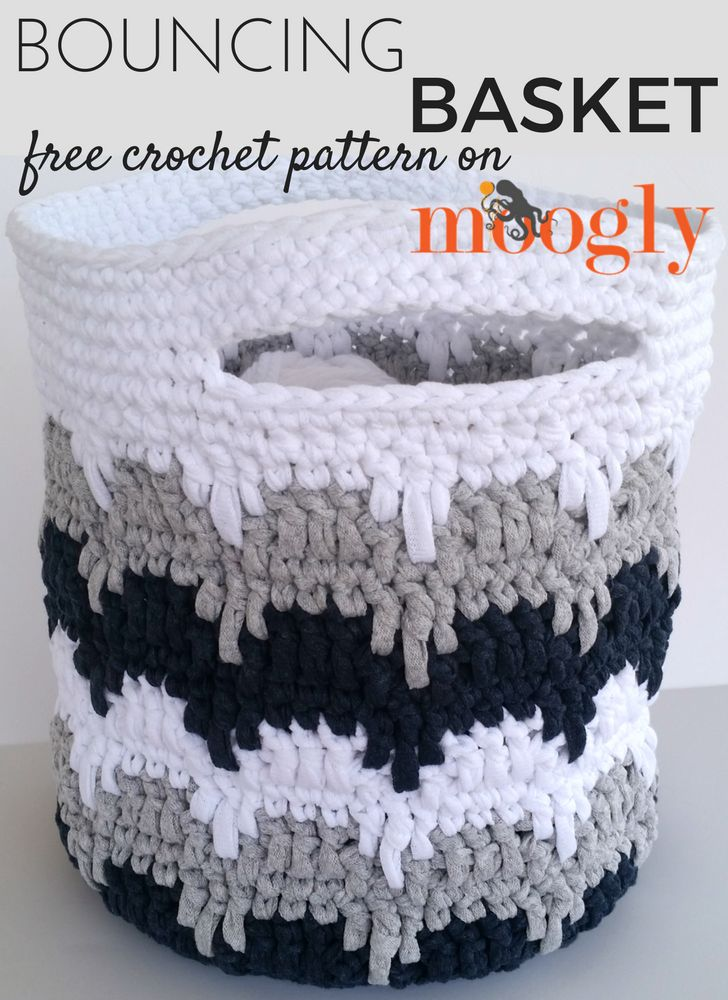 Bouncing Basket - free crochet pattern on Mooglyblog.com! *** #organization #organizing #basket #diy #crafts #craft ideas #free crochet patterns #bags #gift ideas #home decor #storage #yarn