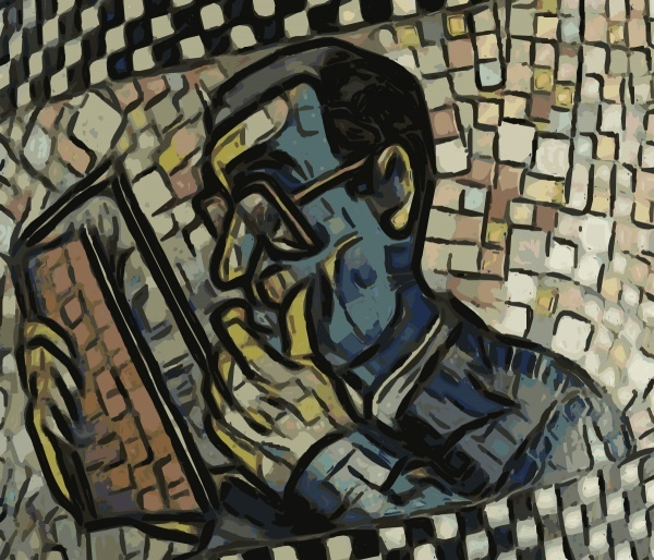 """Art is Reading Man"", 1991 mosaic by George F. Fishman"