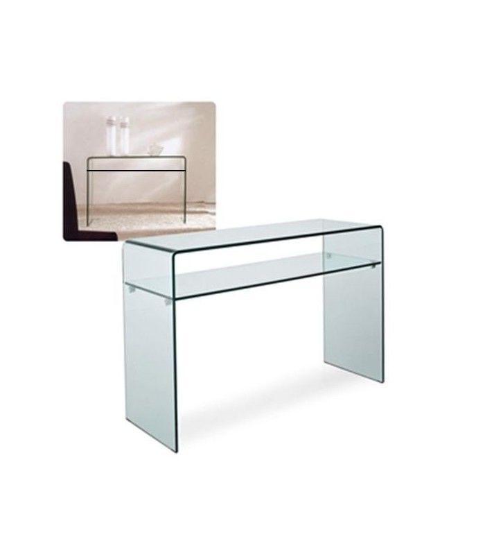 Consola recibidor de diseño moderno Adana, cristal curvado de 15mm, 100x33 cms