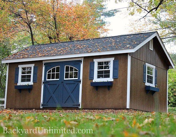 12'x18' Garden Shed with Roll Ridge Vent, Carriage House Doors, Vinyl Shutters, Flower Boxes, Window Trim, Additional Color, Gable Vents, and Mushroom Stain http://www.backyardunlimited.com/sheds/garden-sheds
