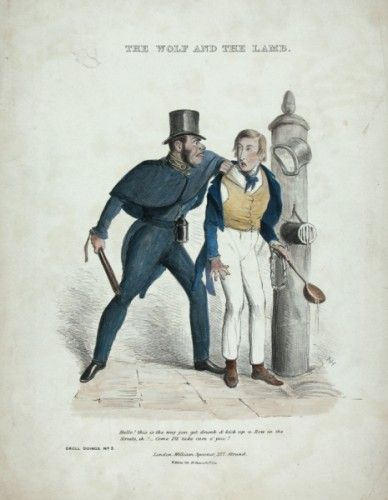 Droll Doings No. 3. The Wolf And The Lamb original hand coloured lithograph by J. Leech. c.1840.