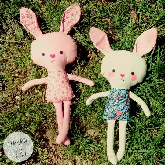 Bunnies made of fabric Made with an original Dolls and daydream pattern
